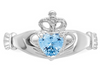 14K WHITE GOLD SWAROVSKI CRYSTAL MARCH BIRTHSTONE CLADDAGH HEART RING