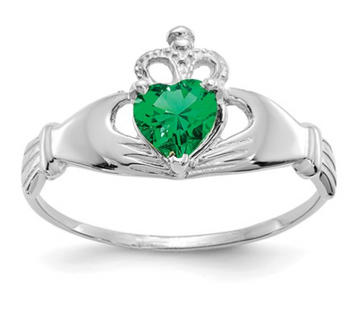 14K WHITE GOLD SWAROVSKI CRYSTAL MAY BIRTHSTONE CLADDAGH HEART RING