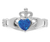 14K WHITE GOLD SWAROVSKI CRYSTAL SEPTEMBER BIRTHSTONE CLADDAGH HEART RING