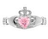 14K WHITE GOLD SWAROVSKI CRYSTAL OCTOBER BIRTHSTONE CLADDAGH HEART RING