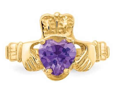 14K YELLOW GOLD SWAROVSKI CRYSTAL JUNE BIRTHSTONE CLADDAGH HEART RING