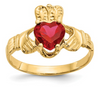 14K YELLOW GOLD SWAROVSKI CRYSTAL JULY BIRTHSTONE CLADDAGH HEART RING
