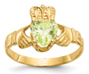 14K YELLOW GOLD SWAROVSKI CRYSTAL AUGUST BIRTHSTONE CLADDAGH HEART RING
