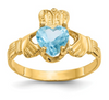 14K YELLOW GOLD SWAROVSKI CRYSTAL DECEMBER BIRTHSTONE CLADDAGH HEART RING