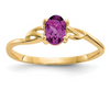 14K YELLOW GOLD RHODOLITE BIRTHSTONE RING