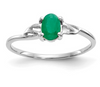 14K WHITE GOLD EMERALD BIRTHSTONE RING