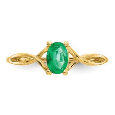 14K YELLOW GOLD EMERALD BIRTHSTONE RING