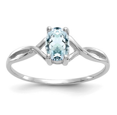 14K WHITE GOLD AQUAMARINE BIRTHSTONE RING