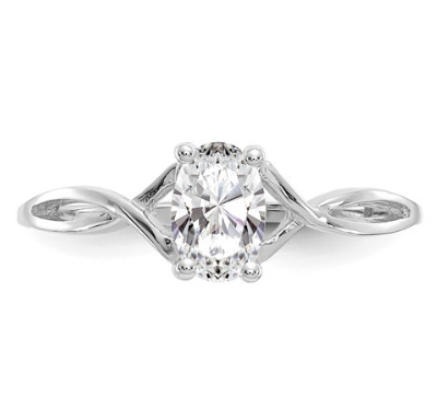 14K WHITE GOLD WHITE TOPAZ BIRTHSTONE RING