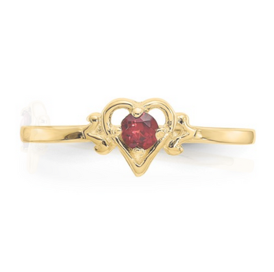 14K YELLOW GOLD GARNET BIRTHSTONE HEART RING