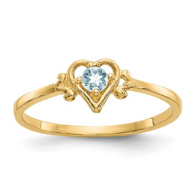 14K YELLOW GOLD AQUAMARINE BIRTHSTONE HEART RING