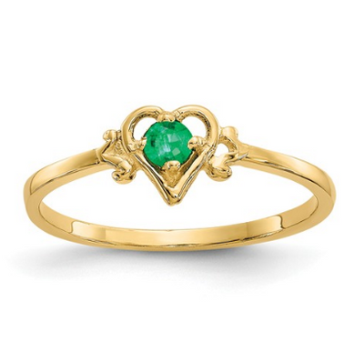 14K YELLOW GOLD EMERALD BIRTHSTONE HEART RING