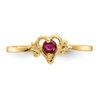 14K YELLOW GOLD RUBY BIRTHSTONE HEART RING