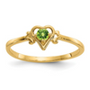 14K YELLOW GOLD PERIDOT BIRTHSTONE HEART RING