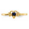 14K YELLOW GOLD SAPPHIRE BIRTHSTONE HEART RING