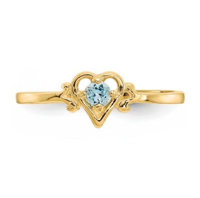 14K YELLOW GOLD BLUE TOPAZ BIRTHSTONE HEART RING