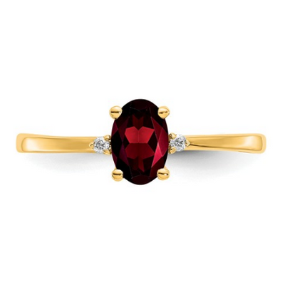 14K YELLOW GOLD DIAMOND AND GARNET BIRTHSTONE RING
