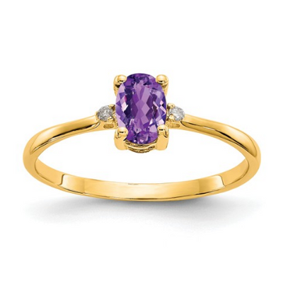 14K YELLOW GOLD DIAMOND AND AMETHYST BIRTHSTONE RING