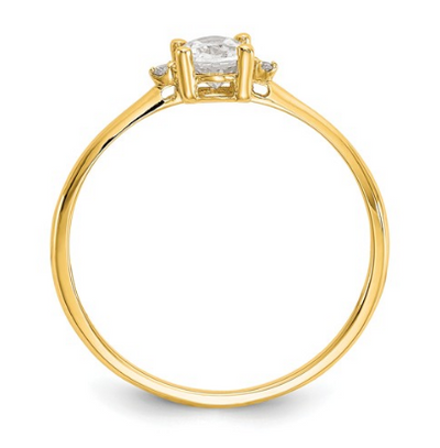 14K YELLOW GOLD DIAMOND AND WHITE TOPAZ BIRTHSTONE RING