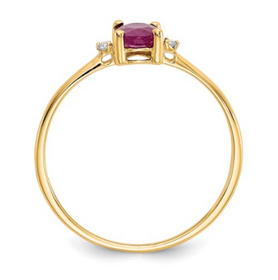 14K YELLOW GOLD DIAMOND AND RUBY BIRTHSTONE RING