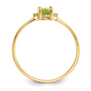 14K YELLOW GOLD DIAMOND AND PERIDOT BIRTHSTONE RING