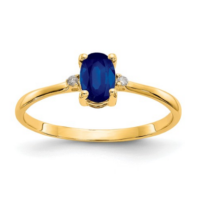 14K YELLOW GOLD DIAMOND AND SAPPHIRE BIRTHSTONE RING