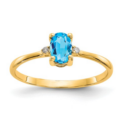 14K YELLOW GOLD DIAMOND AND BLUE TOPAZ BIRTHSTONE RING