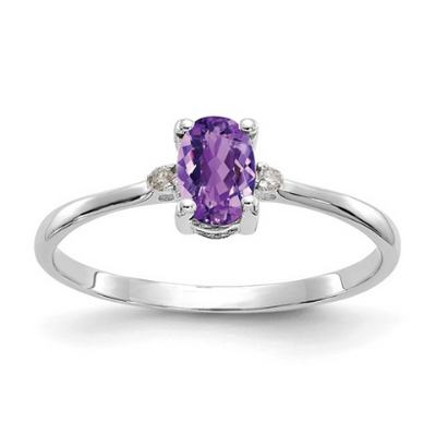 14K WHITE GOLD DIAMOND AND AMETHYST BIRTHSTONE RING