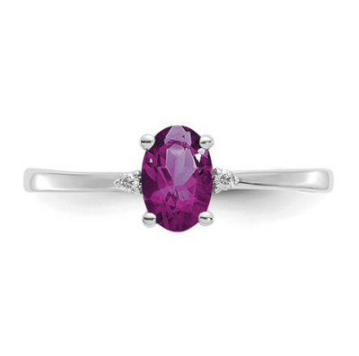 14K WHITE GOLD DIAMOND AND RHODOLITE GARNET BIRTHSTONE RING