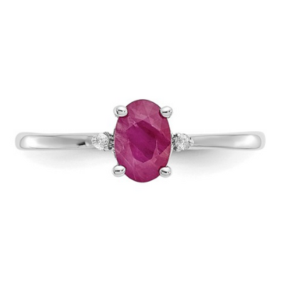 14K WHITE GOLD DIAMOND AND RUBY BIRTHSTONE RING