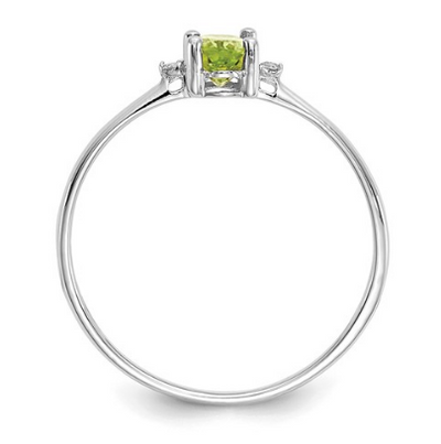 14K WHITE GOLD DIAMOND AND PERIDOT BIRTHSTONE RING