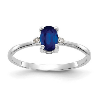 14K WHITE GOLD DIAMOND AND SAPPHIRE BIRTHSTONE RING