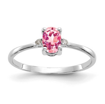 14K WHITE GOLD DIAMOND AND PINK TOURMALINE BIRTHSTONE RING