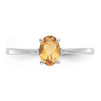 14K WHITE GOLD DIAMOND AND CITRINE BIRTHSTONE RING