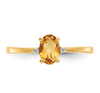 14K YELLOW GOLD DIAMOND AND CITRINE BIRTHSTONE RING