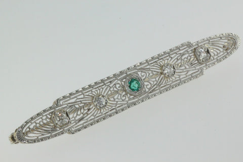 ANTIQUE ESTATE ART DECO 14K GOLD LADYS DIAMOND AND EMERALD FILIGREE PIN BROOCH