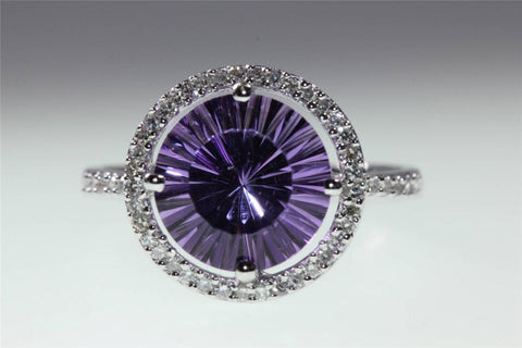 14k WHITE GOLD LASER CUT AMETHYST DIAMOND RING 3.30CT VS1 G