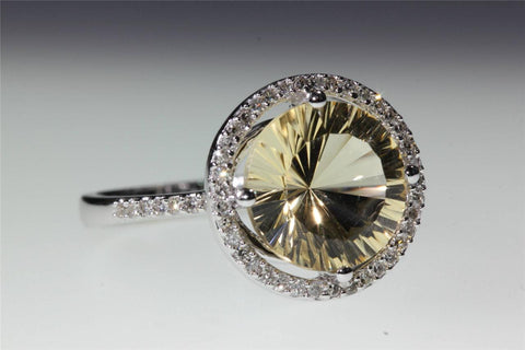 HELO 14K WHITE GOLD LASER CUT CITRINE DIAMOND RING 3.30CT VS1 G