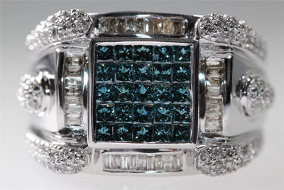 MODERN 14k WHITE GOLD BLUE & WHITE DIAMONDS MANS RING 2.59CT VS1 G
