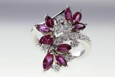 MODERN 14k WHITE GOLD MARQUISE SHAPE RUBY & ROUND DIAMOND RING 1.50CT
