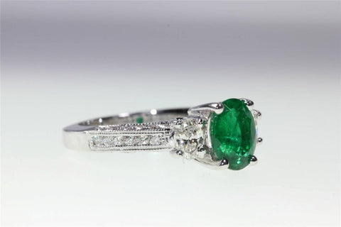 ANTIQUE 14K WHITE GOLD OVAL SHAPE COLOMBIAN EMERALD & ROUND DIAMOND RING 2.25CT