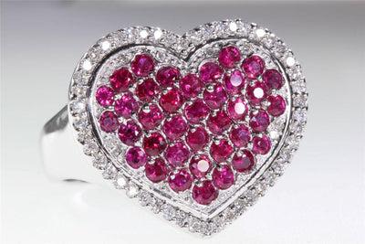 LARGE SOLID MODERN 14k WHITE GOLD HEART SHAPE RUBY & ROUND DIAMOND RING