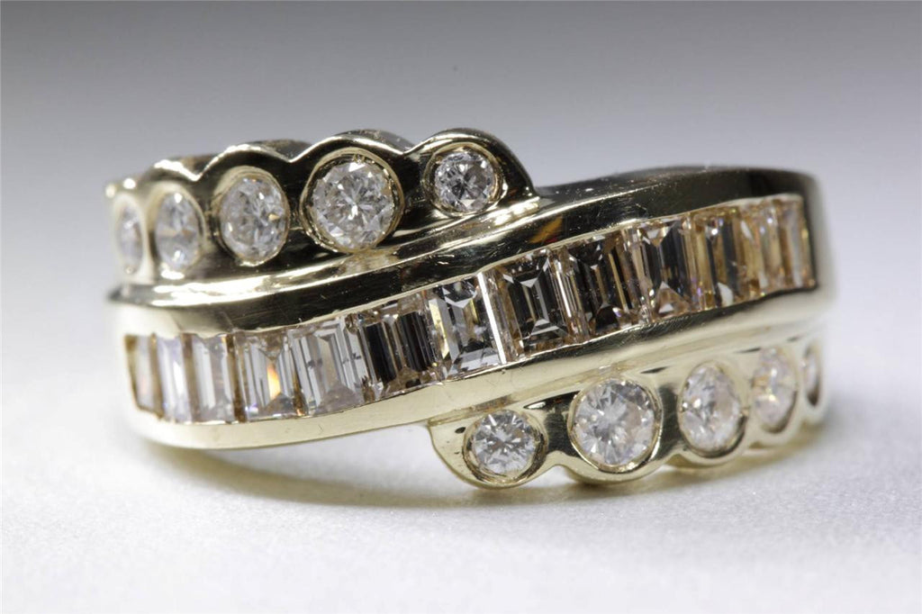 MODERN LADYS BAND BAGUETTE ROUND 14K YELLOW GOLD DIAMOND RING 1.50 Ct