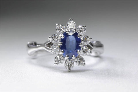 MODERN 14k WHITE GOLD OVAL CUT SAPPHIRE FLOWER HALO SETTING DIAMOND RING 1.45CT