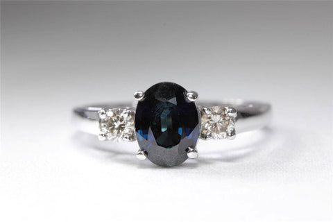 ANTIQUE 14k WHITE GOLD LADIES RING OVAL CUT SAPPHIRE DIAMOND RING 1.32CT