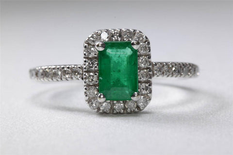 ESTATE 14k WHITE GOLD LADIES EMERALD CUT EMERALD HALO SETTING DIAMOND RING 1.00CT