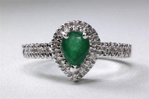 ANTIQUE 14k WHITE GOLD PEAR SHAPE CUT EMERALD HALO SETTING & DIAMOND RING 1.59CT