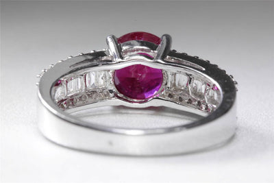 MODERN 14k WHITE GOLD ROUND SOLITAIRE RUBY & ROUND & BAGUETTE DIAMOND RING 3.32C