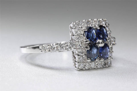 ANTIQUE 14k WHITE GOLD OVAL CUT BLUE SAPPHIRE & DIAMOND SQUARE RING 1.62CT