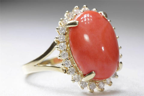 ESTATE 14K YELLOW GOLD RING LADIES OVAL CUT PINK CORAL & HALO DIAMOND GENUINE